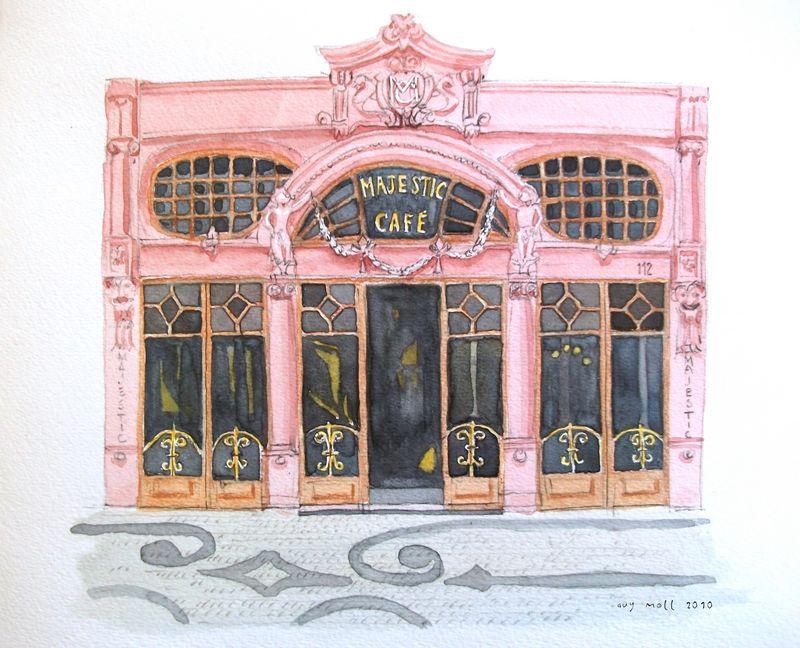 Lieux d'inspiration pour la création d'Harry Potter : Aquarelle du Café Majestic à Porto - Photo de Guy Moll