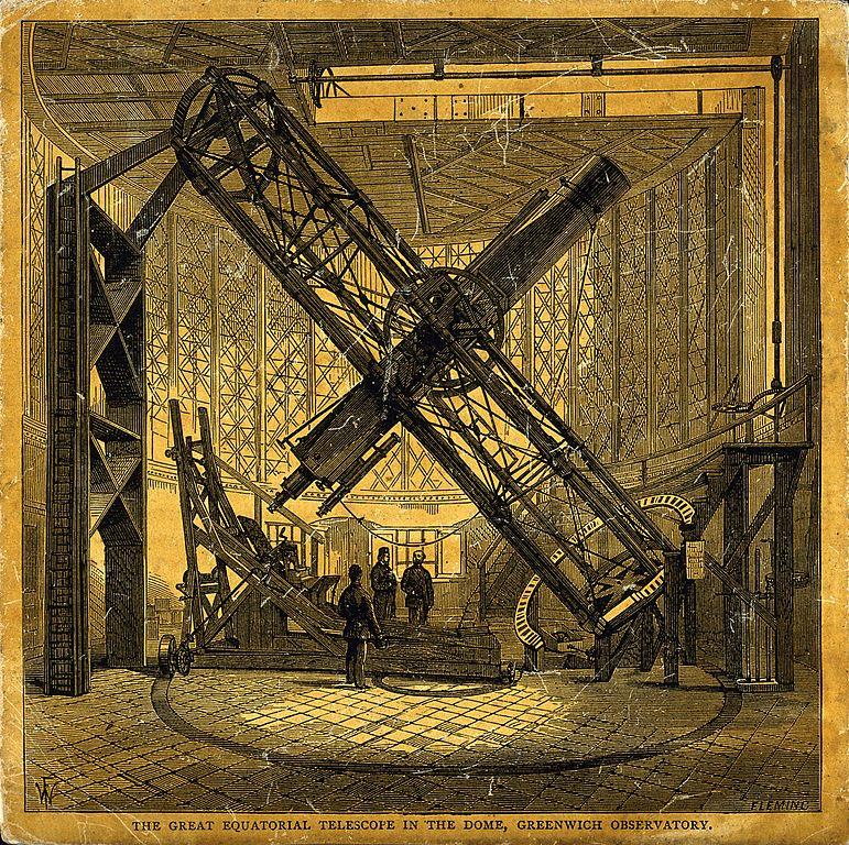 Astronomie : Le grand téléscope de l'observatoire de Greenwich à Londres.