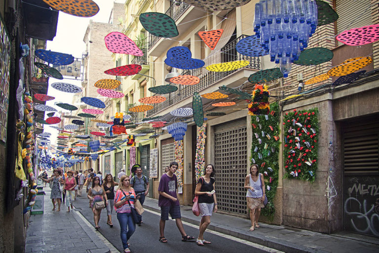 Fête de Gracia dans le quartier de Gracia à Barcelone.