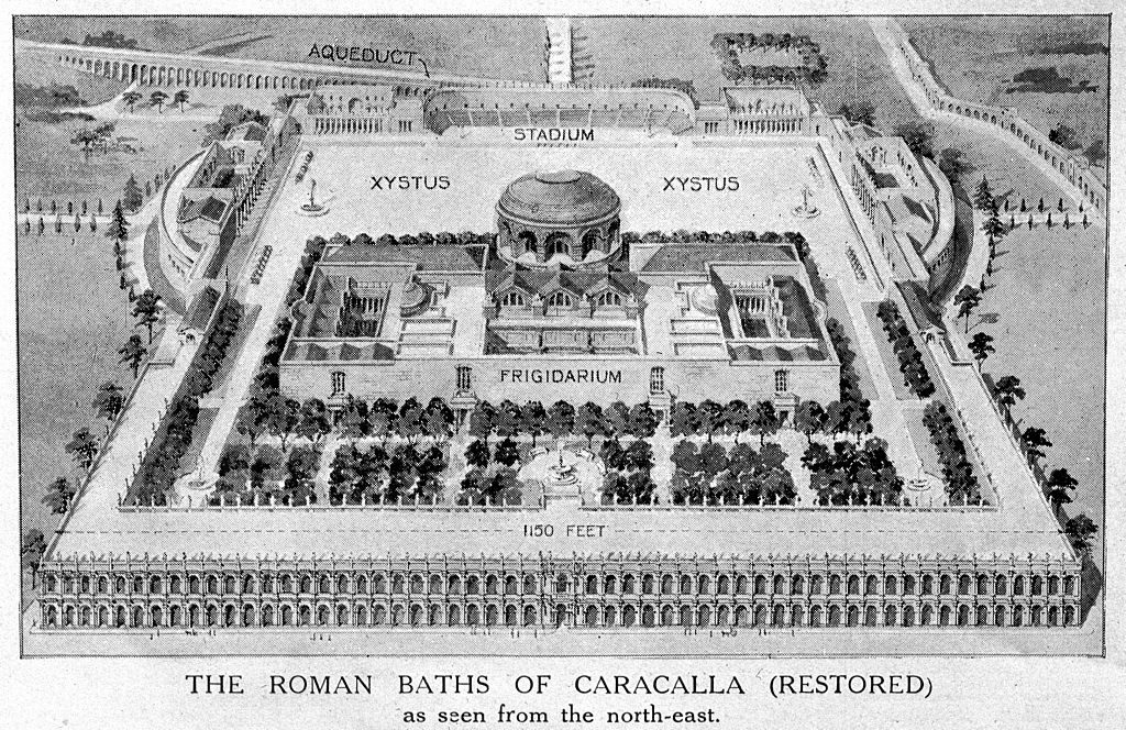 Plan des thermes de Caracalla à Rome vue depuis le nord-est.