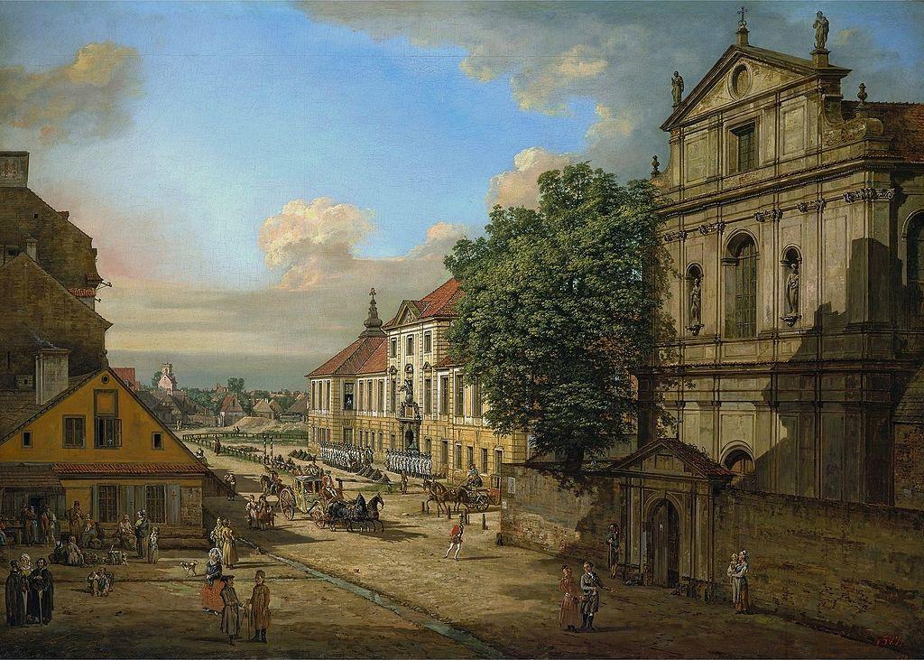 L'Eglise Bridgettine et L'Arsenal à Varsovie par Bellotto vers 1780.