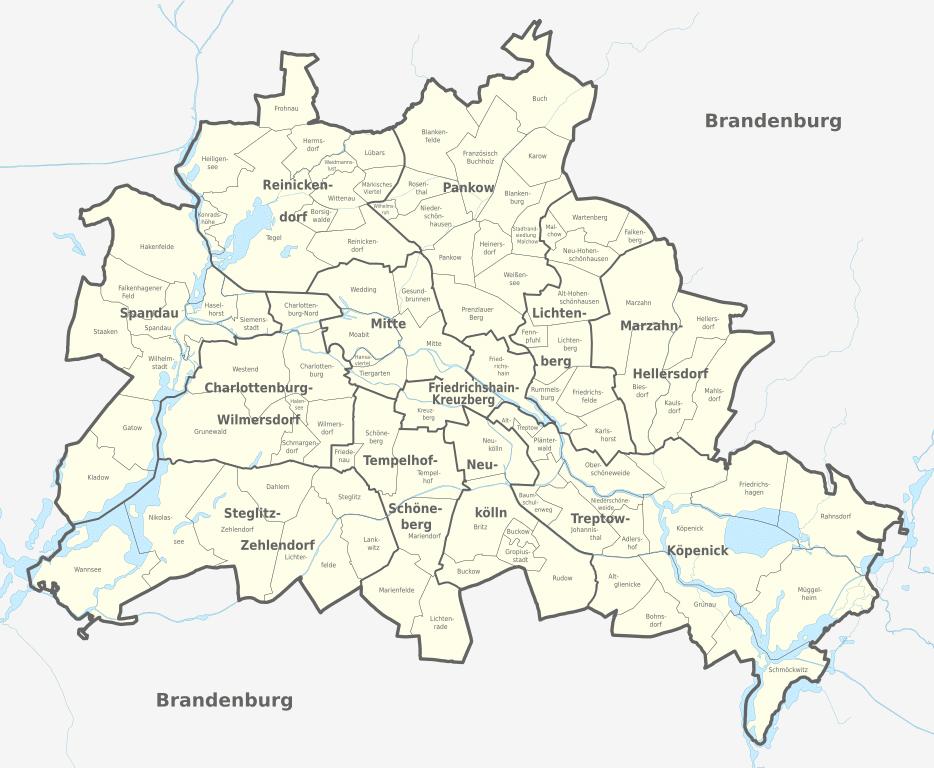 Carte des quartiers de Berlin.
