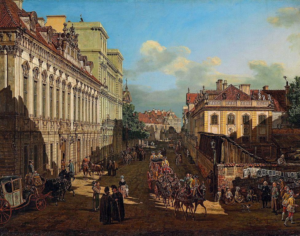 > Rue Miodowa à Varsovie par Bellotto (Canaletto) vers 1777.