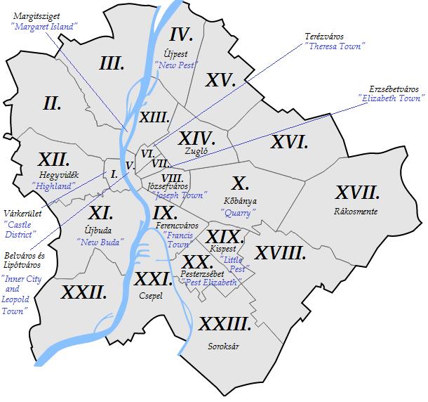 Carte des quartiers de Budapest avec leur nom - Image de Droo