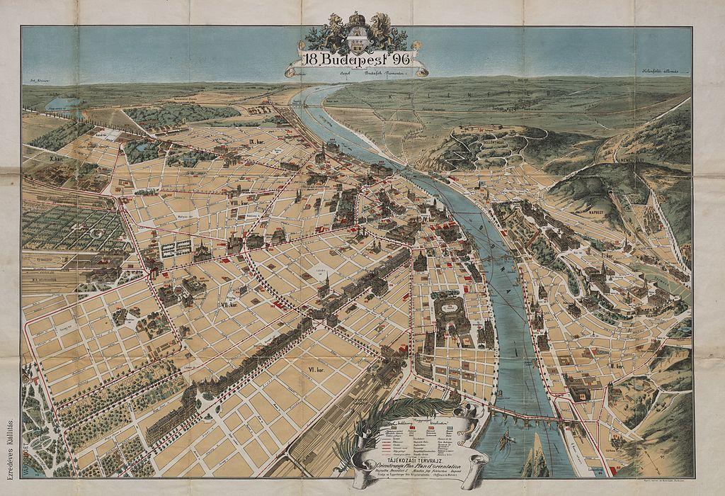 Carte de Budapest en 1896, le haut de l'image est orientée vers le sud