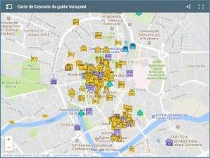 Carte de Cracovie : Plan détaillé des lieux intéressants