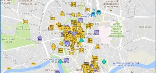 Carte détaillée du guide de Cracovie