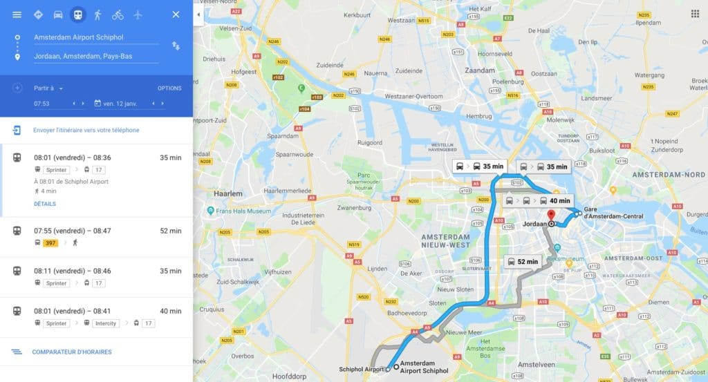 Utiliser Google Map comme outil de calcul d'itinéraire.