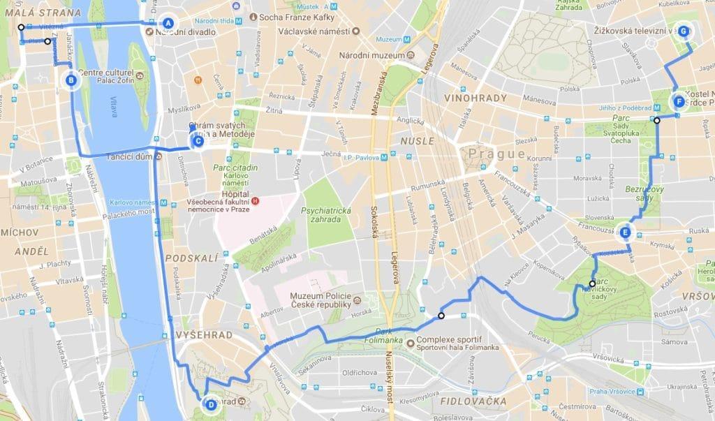 > Itinéraire pour un week-end à Prague : Jour 3, Nove Mesto > Vysehrad > Vynohrady > Zizkov.