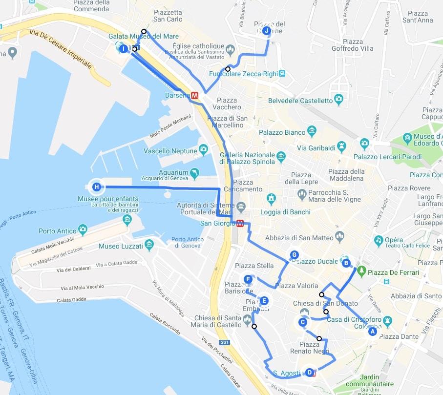 Jour 1 : Proposition d'itinéraires pour découvrir Gênes.