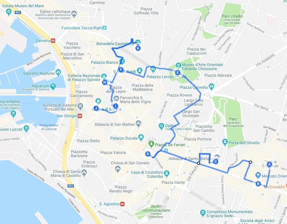 > Jour 2 : Proposition de parcours pour découvrir Gênes.