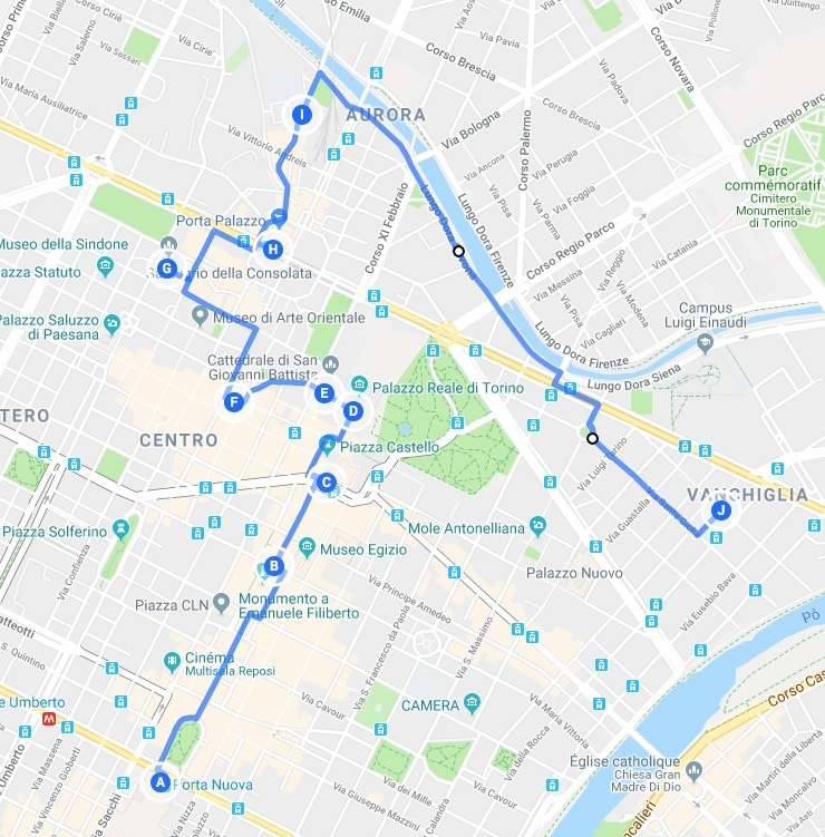 Itinéraire jour 1 : Proposition de parcours pour découvrir Turin.