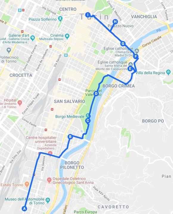 > Itinéraire jour 2 : Proposition de parcours pour découvrir Turin.