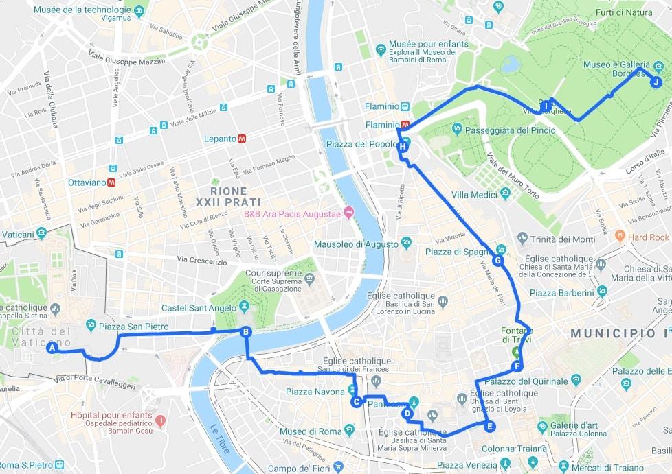 Jour 1 : Proposition d'itinéraires pour découvrir Rome.
