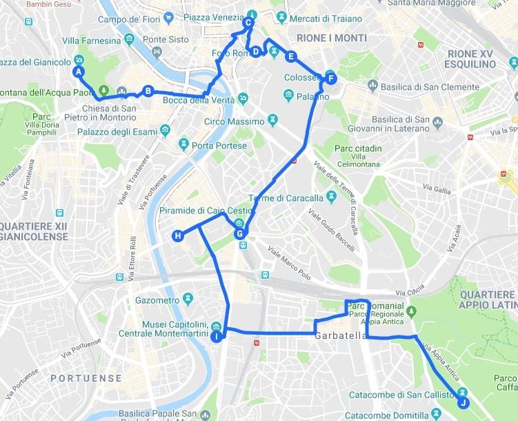 > Jour 1 : Proposition d'itinéraires pour découvrir Rome.