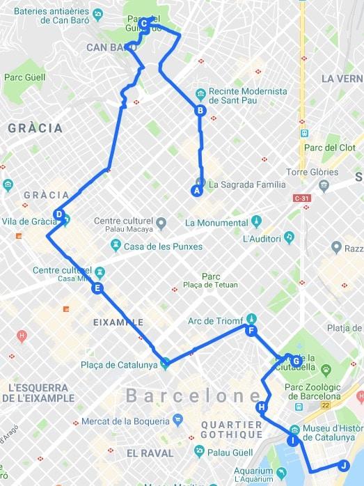 Itinéraires à Barcelone : Idées de parcours pour visiter Barcelone en 2 ou 3 jours.