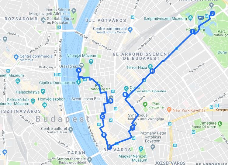 > Jour 1 : Proposition d'itinéraires pour découvrir le quartier de Pest à Budapest.