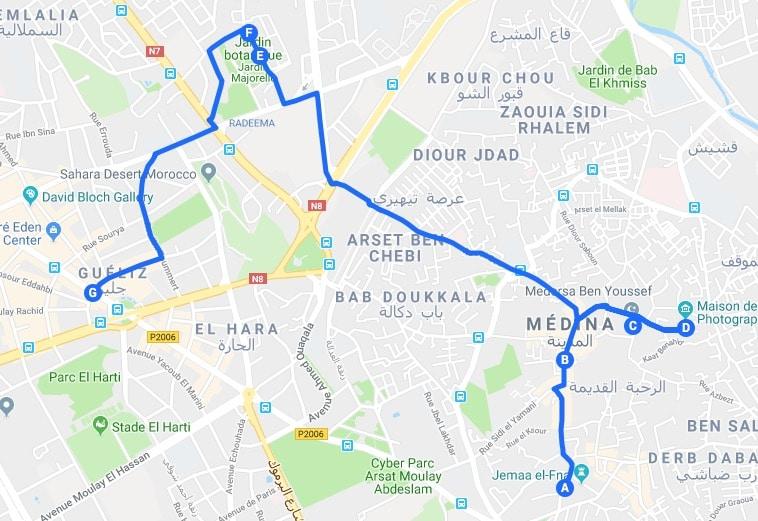Jour 1 de l'itinéraire pour visiter Marrakech.