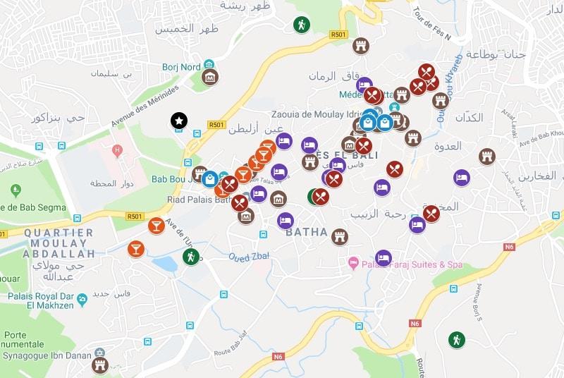 Carte de Fès : Plan détaillé de lieux intéressants
