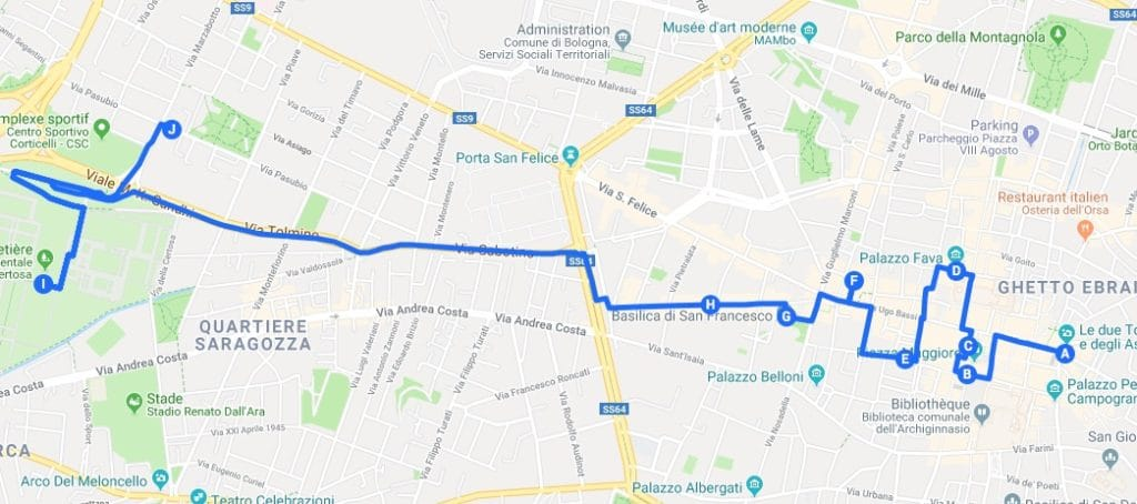 > Jour 1 : Proposition d'itinéraires pour découvrir Bologne.