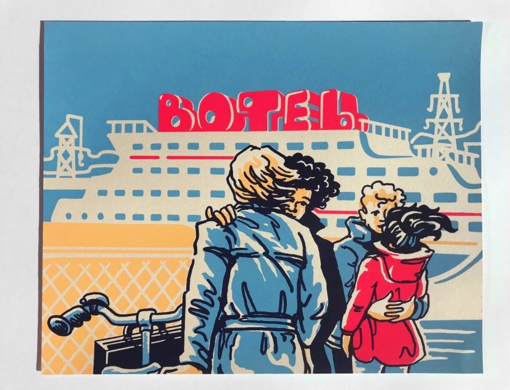 Trajet quotidien du Nord d'Amsterdam à la ville - Sérigraphie de Rachelle Meyer