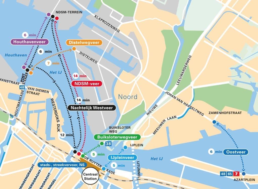 Carte des ferrys pour le nord d'Amsterdam.
