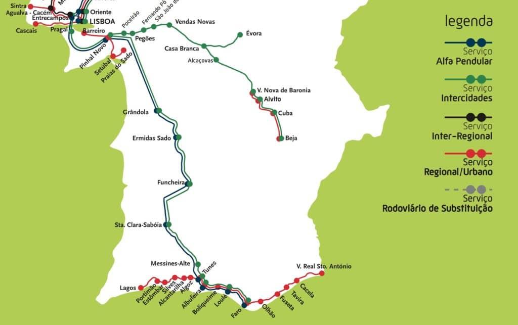Carte du réseau ferroviaire au sud du Portugal.