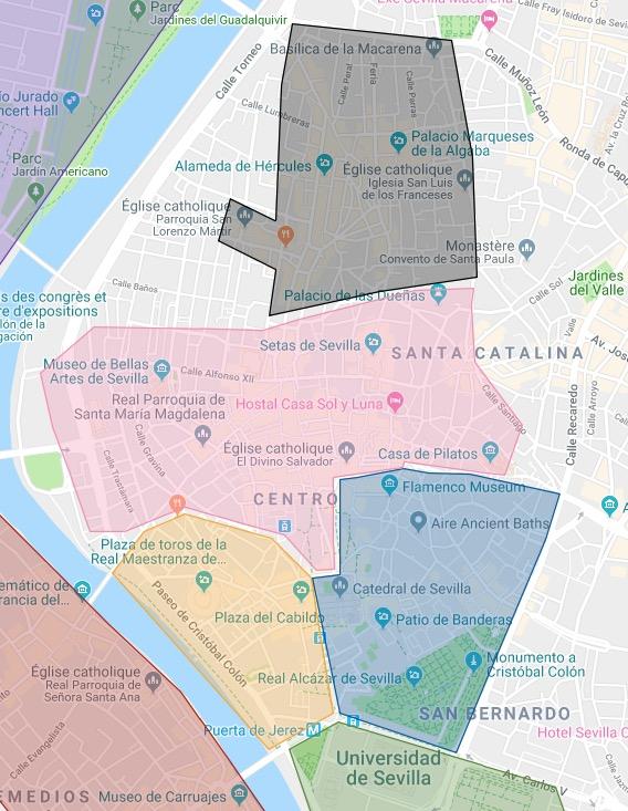 Le quartier d'Arenal (jaune) à Séville avec autour les quartiers de Santa Cruz (bleu), Centro (rose) et Alameda (noir).