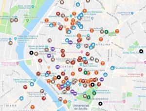 Carte de Séville : Plan détaillé de lieux sympas