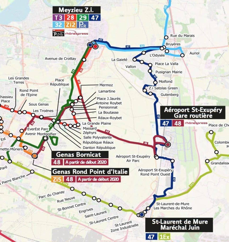 Carte TCL des liaisons en direction de l'aéroport (ligne 48 accessible début 2020).