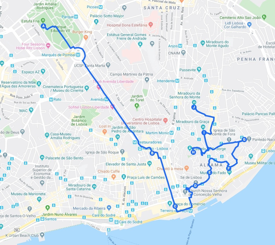 Jour 1 àLisbonne :Itinéraires dans Baixa et Alfama