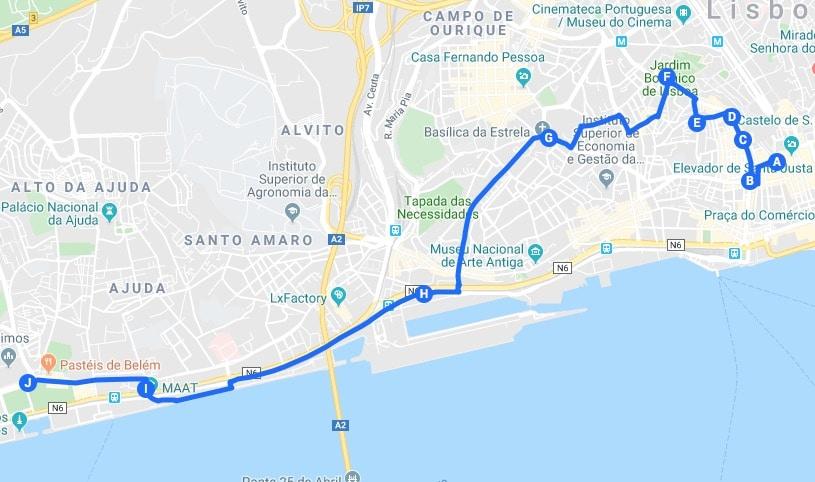 Itinéraire jour 2 : Proposition de parcours pour visiter Lisbonne.