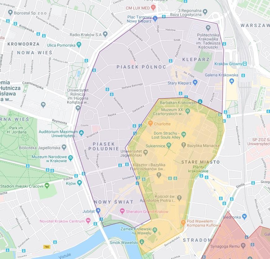 Carte des quartier à l'ouest de la Vieille Ville : Nowy Swiat, Piasek, Kleparz.