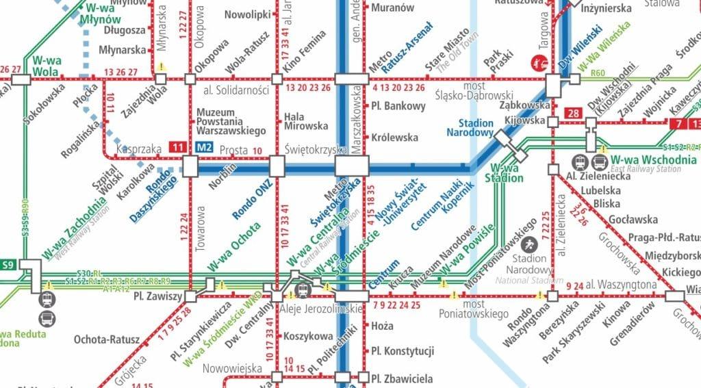 Télécharger la carte du réseau de métros et tramways à Varsovie en 2020.