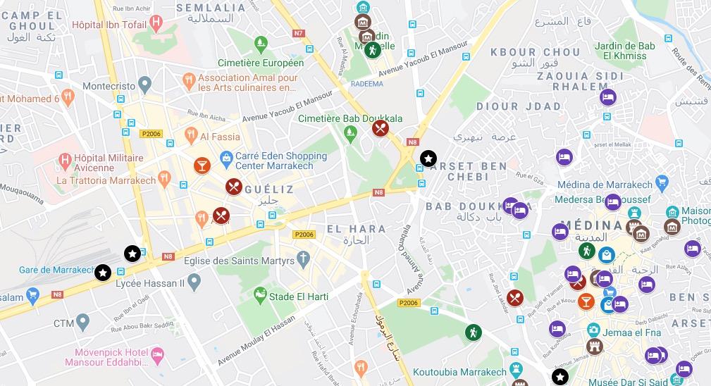 Carte de Marrakech avec tus les lieux du guide.