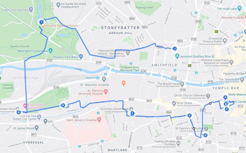 > Itinéraire à Dublin : Jour 1 du centre à l'est et nord-est.