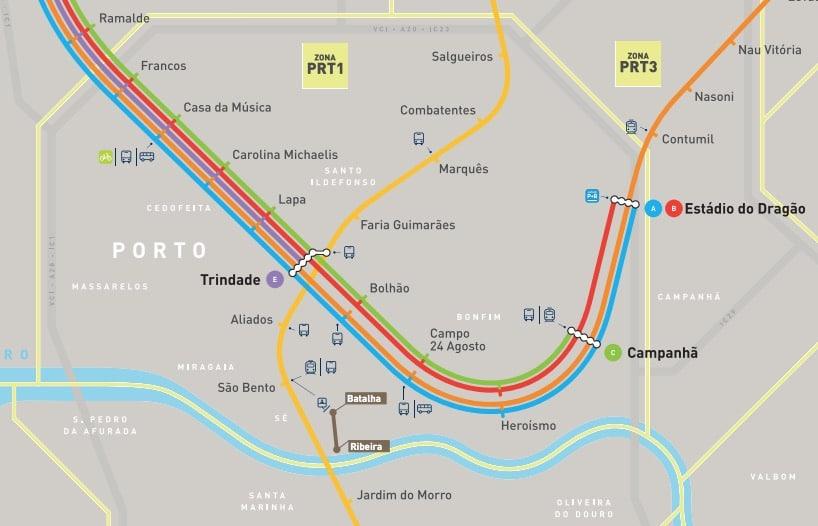 Carte géographique du métro à Porto.