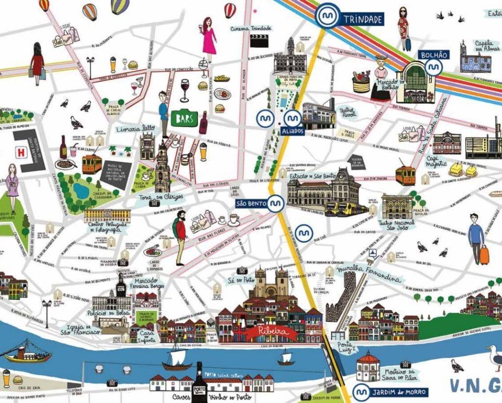 Carte illustrée de Porto et des stations de métro les plus centrales.