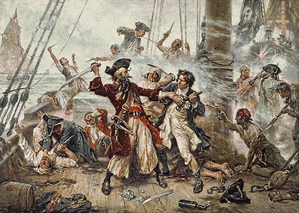 Capture de Barbe Noire, pirate originaire de Bristol. Toile de Ferris.