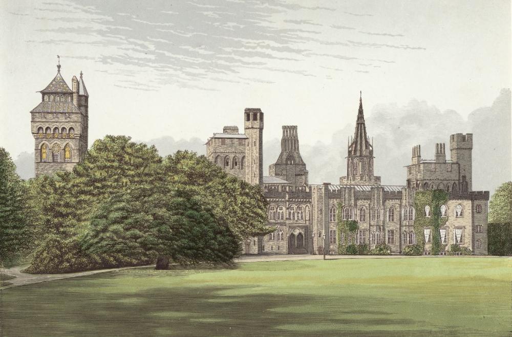 Illustration du chateau de Cardiff en 1870.