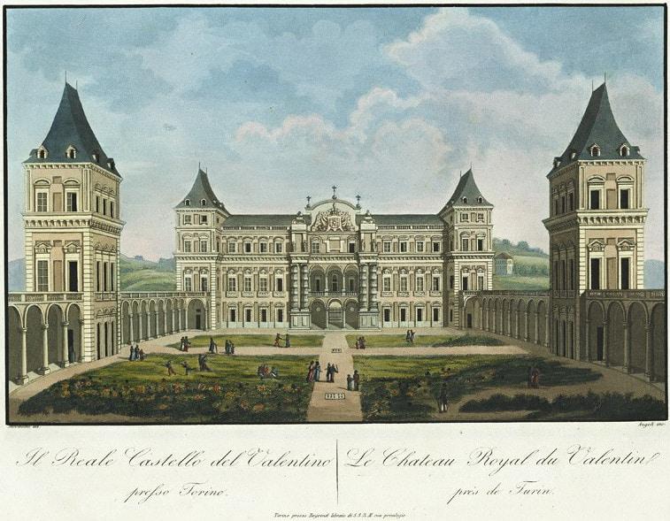 Illustration du Castello del Valentino à Turin d'après Alessandro Angeli