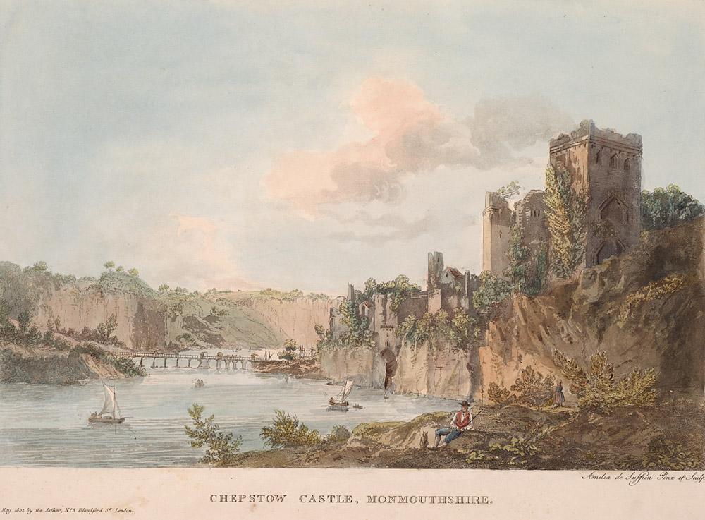 Lieux d'inspiration pour la création d'Harry Potter : Le château de Chepstow sur une gravure du 18e siècle.