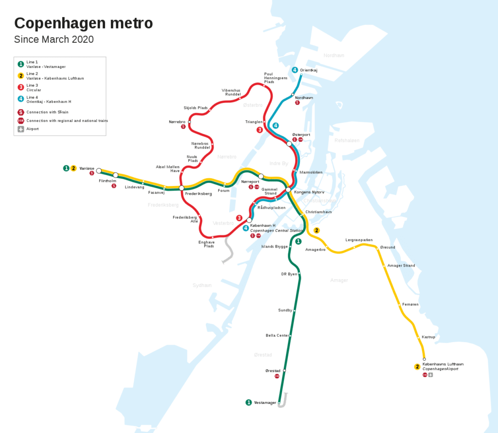 Carte du métro de Copenhague en 2020 avec l'aéroport comme terminus de la ligne M2 : Lufthavnen.