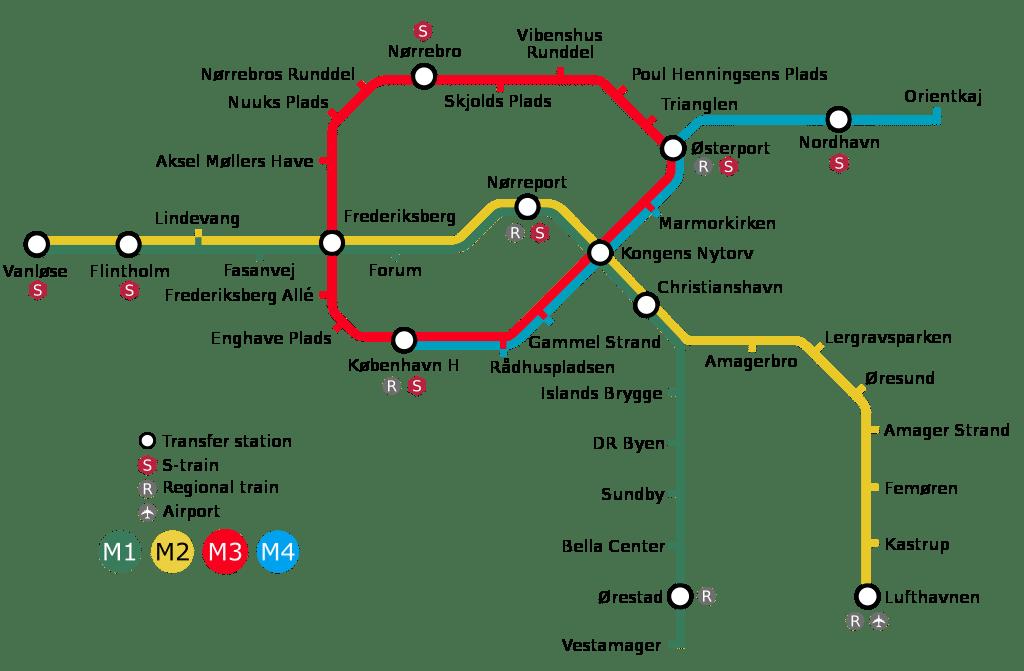 Carte du métro de Copenhague.