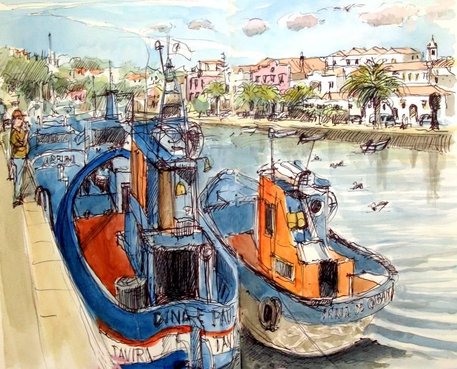Croquis de bateaux de pêche dans la ville de Tavira à côté de Faro par Guy Moll