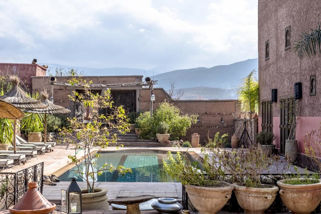 Piscine de l'hôtel de charme : Dar Tafantant au sud de Marrakech.