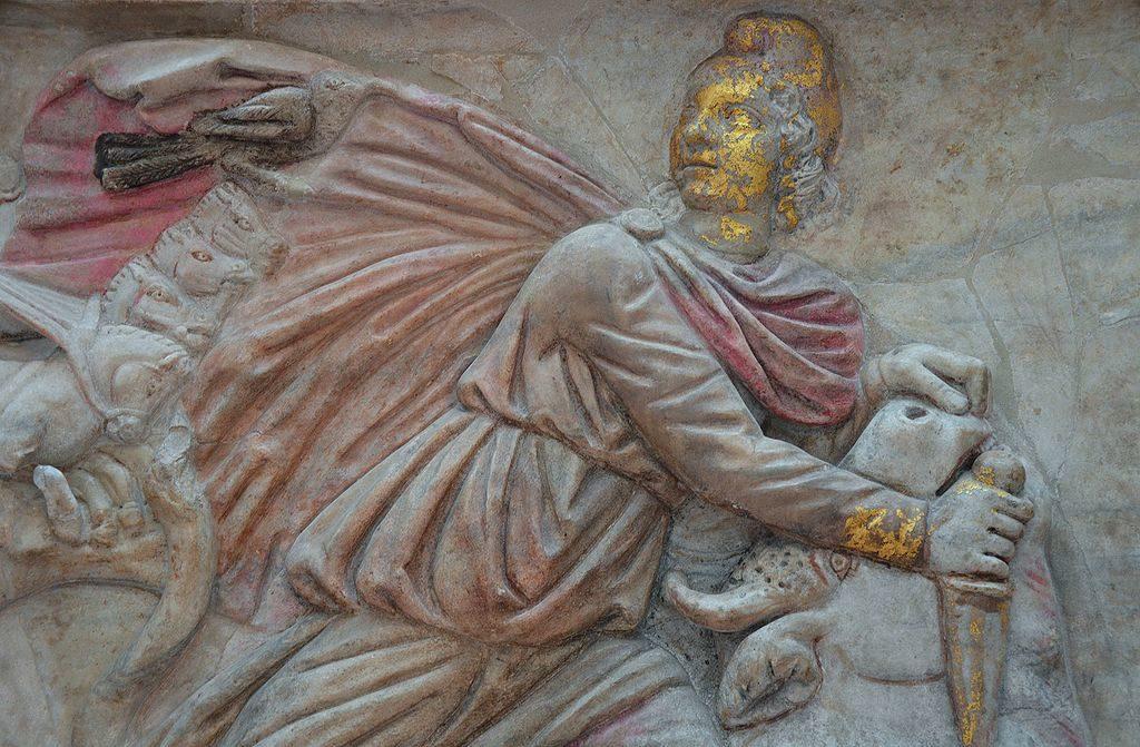 Antiquité : Stèle polychrome au Musée des Thermes de Dioclétien à Rome - Photo Carole Raddato