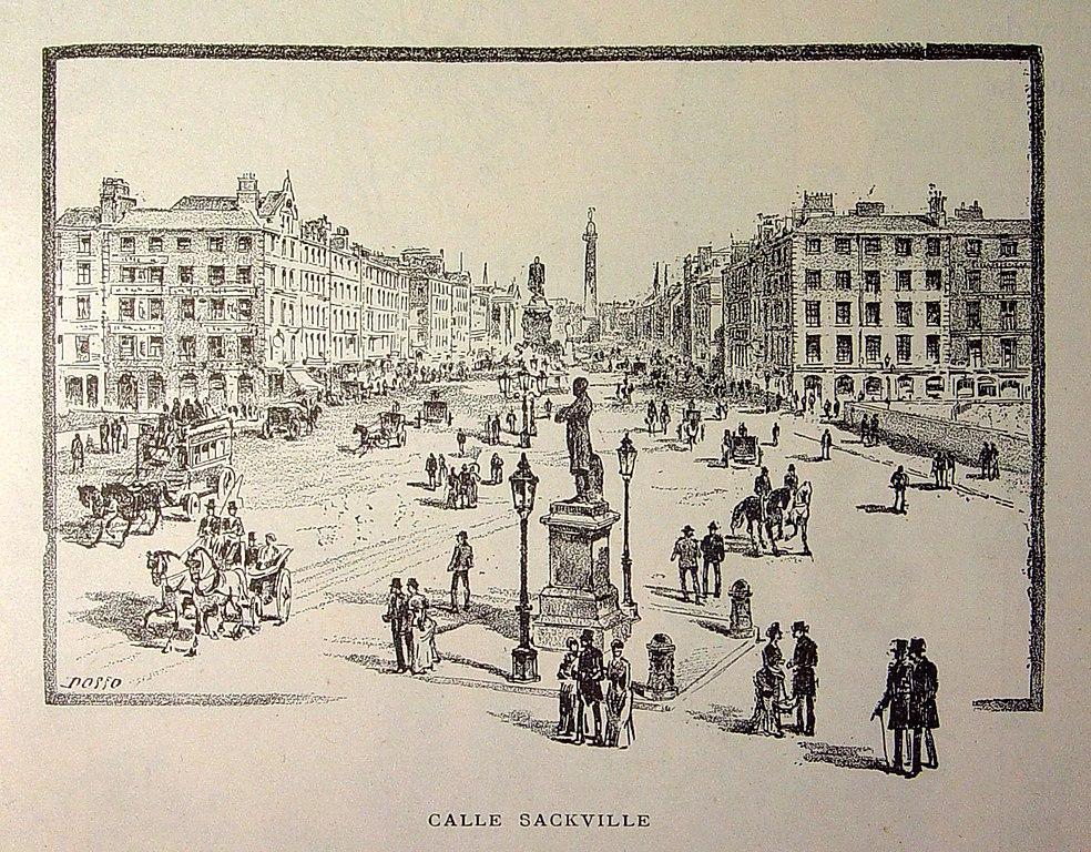 Illustration de Sackville street, l'ancien nom d'O'Connell street à Dublin vers 1886.