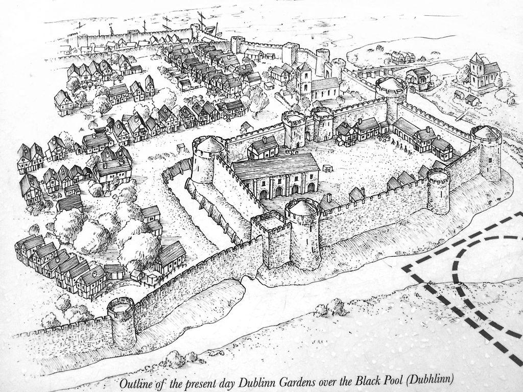 Le chateau de Dublin vers les 13e siècle - Illustration de Pi3.124