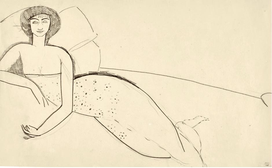 """Anna Akhmatova est la """"Femme à la robe décolletée allongée sur un lit"""" (vers 1910) par Modigliani."""